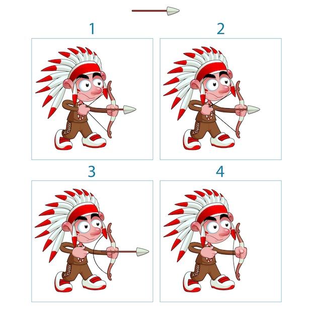 Animation de garçon indigène en 4 cadres avec arc et flèche isolé éléments vectoriels Vecteur Premium