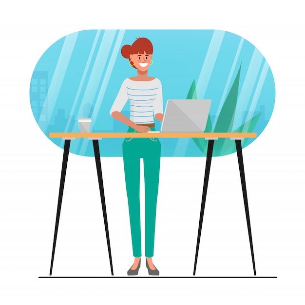 Animation de personnage de la jeune femme à l'aide d'un ordinateur portable dans un café. activité de mode de vie de blogueur à la mode. Vecteur Premium