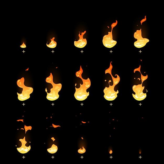 Animation de piège de feu d'allumage et d'atténuation Vecteur Premium