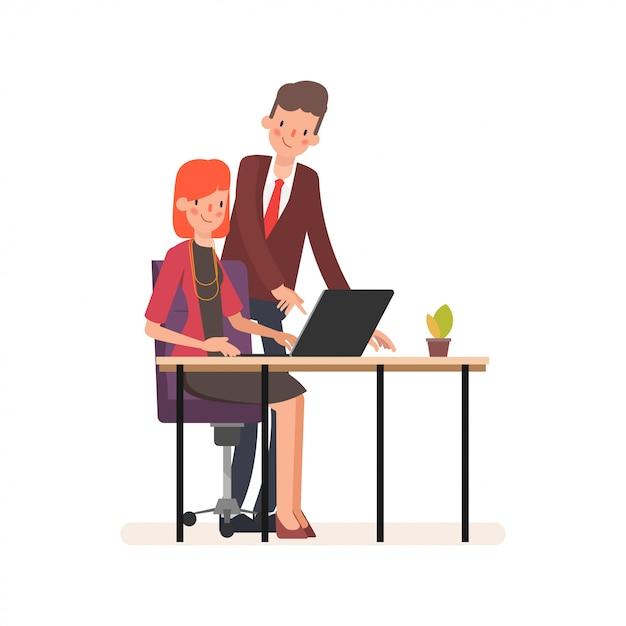 Animation travail d'équipe de gens d'affaires collègue caractère. Vecteur Premium