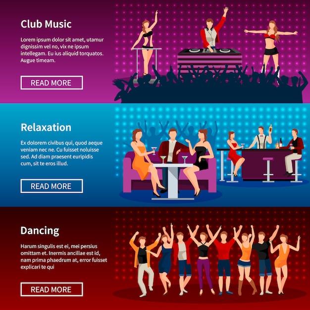 Animation de la vie nocturne meilleur club de danse page web 3 conception de bannières plat Vecteur gratuit