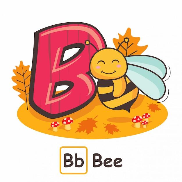 Animaux abeilles alphabets de lettres b Vecteur Premium