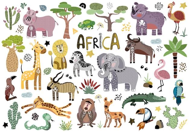 Animaux africains de dessin animé Vecteur Premium