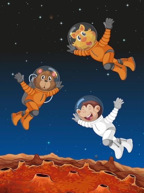 Animaux agissant comme astronautes Vecteur gratuit