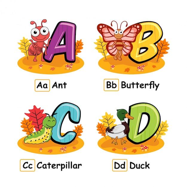 Animaux Alphabet Automne Fourmi Papillon Chenille Canard Vecteur Premium