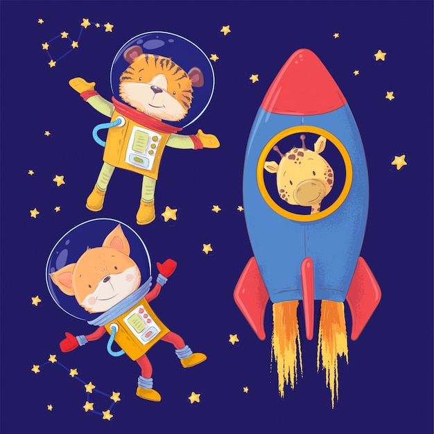 Animaux astronautes dessin de main de style renard tigre et girafe. Vecteur Premium