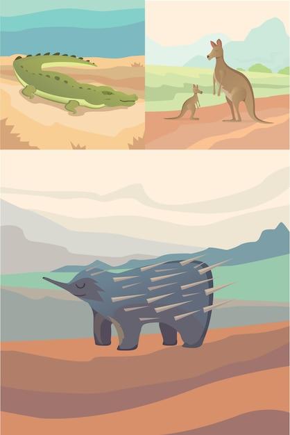 Animaux Australiens Style Plat Crocodile, Kangourou Et échidné. Vecteur Premium