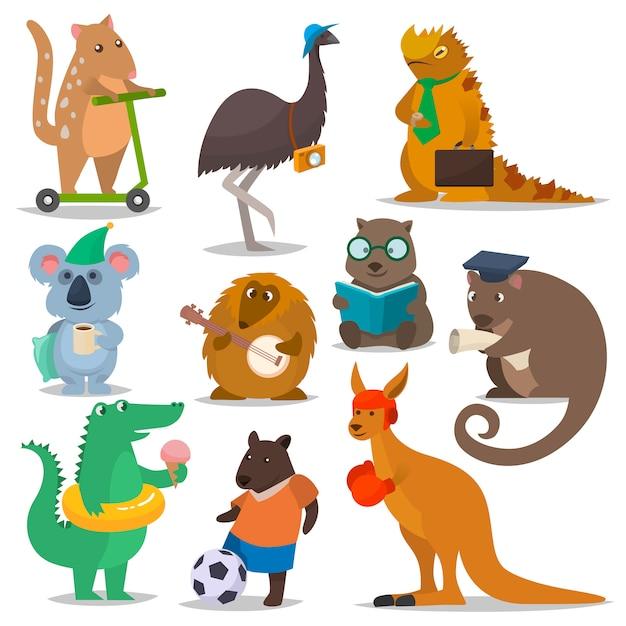 Animaux Australiens Vecteur Personnage Animalier De Dessin Animé Dans La Faune Australie Kangourou Sportif Koala Illustration De Crocodile Vecteur Premium