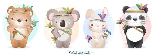 Animaux Boho Mignons Sertis D'illustration Aquarelle Vecteur Premium