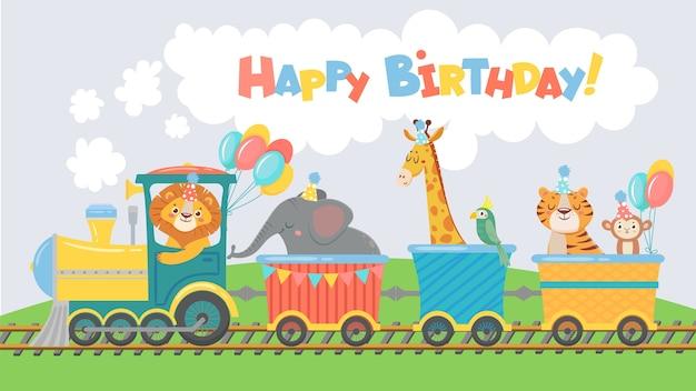 Animaux Sur La Carte De Voeux De Train. Joyeux Anniversaire Animal Mignon En Voiture De Chemin De Fer Vecteur Premium