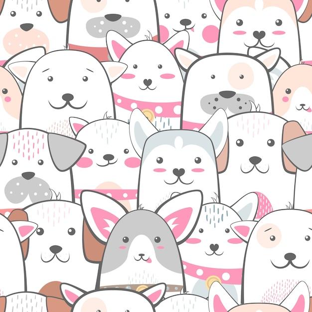 Animaux, chien - modèle mignon et amusant Vecteur Premium