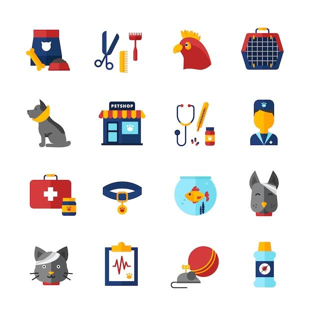 Animaux de compagnie vétérinaire icônes décoratives sertie animaux collier animalerie sac animalier et alimentation animale isolé illustration vectorielle Vecteur gratuit