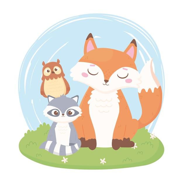 Animaux De Dessin Animé Mignon Renard Raton Laveur Et Hibou Dans L'illustration De L'herbe Vecteur Premium