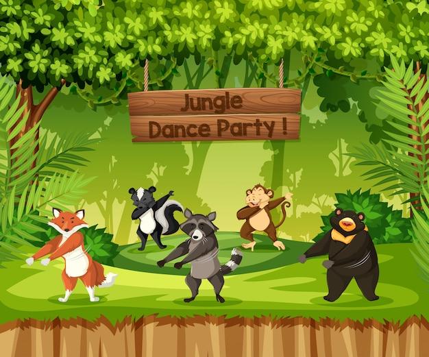 Les Animaux Effectuent Une Soirée Dansante Dans La Jungle Vecteur Premium