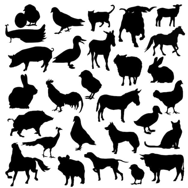 Animaux de ferme animaux silhouette silhouette Vecteur Premium