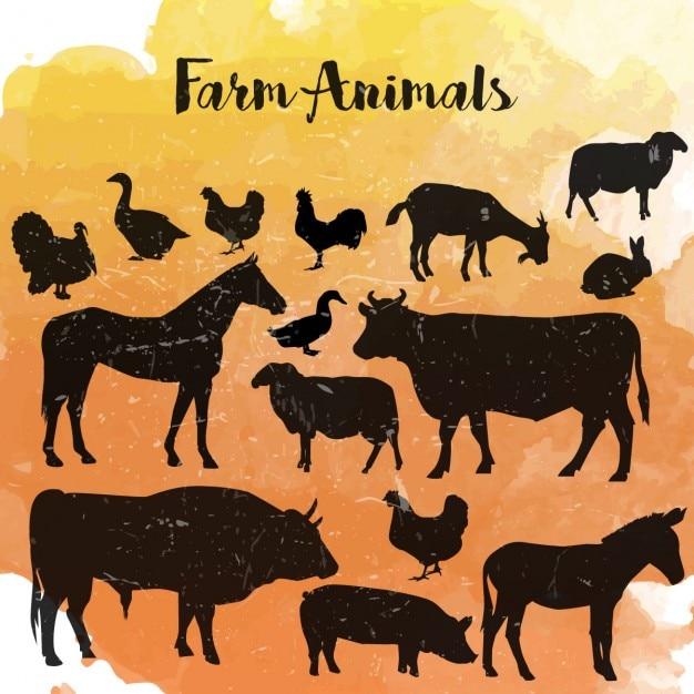 Les animaux de ferme silhouette Vecteur gratuit