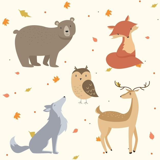 Animaux De La Forêt D'automne Vecteur gratuit