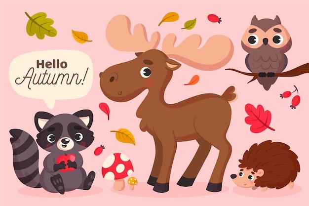 Animaux De La Forêt D'automne Vecteur Premium