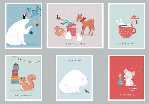 Animaux De La Forêt D'hiver, Cartes De Voeux Joyeux Noël Avec Ours Mignon, Oiseaux, Lapin, Cerf, Souris Et Pingouin. Vecteur Premium