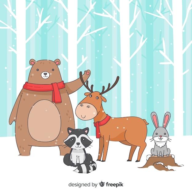 Animaux de la forêt d'hiver Vecteur gratuit