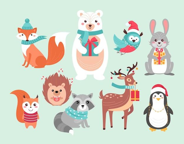 Animaux De La Forêt Mignons De Noël Personnages D'animaux De La Forêt Drôle De Noël, Fond Dessiné à La Main De Noël Vecteur Premium