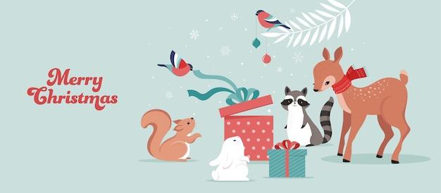 Animaux De La Forêt Mignons, Scène D'hiver Et De Noël Avec Cerf, Lapin, Raton Laveur, Ours Et écureuil. Vecteur Premium