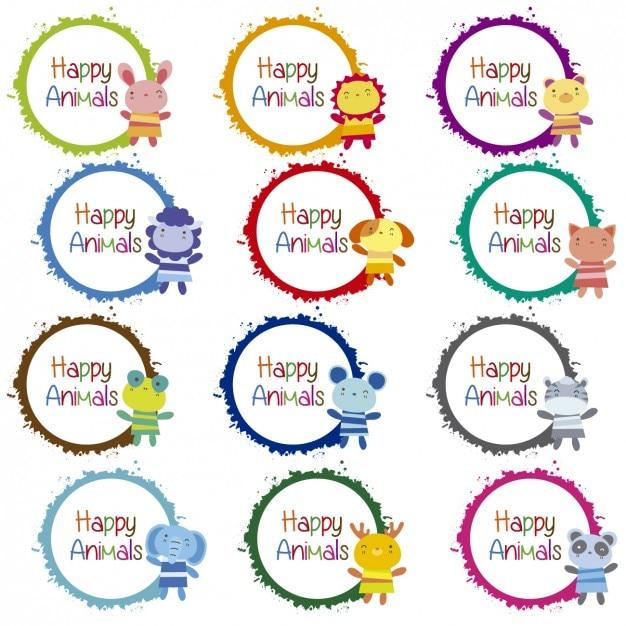 Animaux heureux badges collection Vecteur gratuit