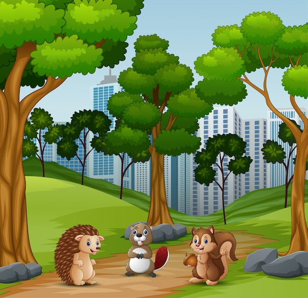 Animaux heureux jouant dans la forêt Vecteur Premium