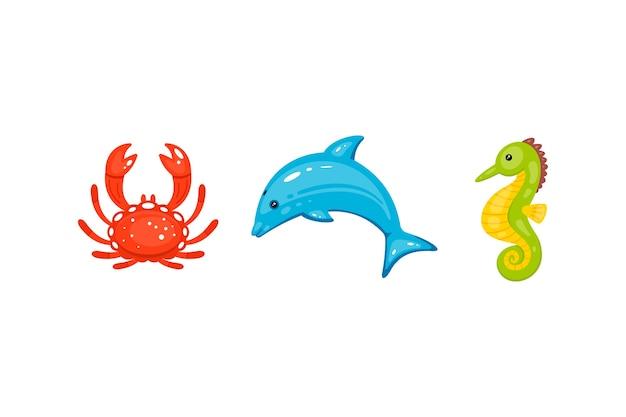 Animaux Marins Mis En Dessin Animé Dessinés à La Main. La Vie Marine Et Les Créatures Sous-marines Contiennent Des Crabes, Des Dauphins, Des Hippocampes. Vecteur Premium