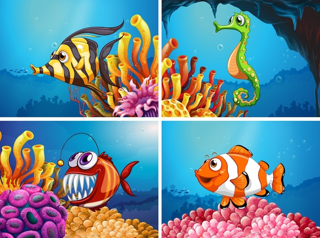 Animaux de mer sous la mer Vecteur gratuit