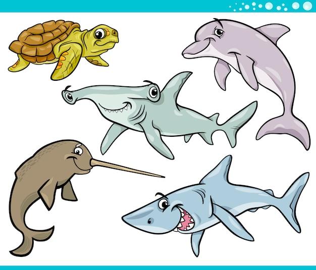 Animaux de mer vie mis illustration de dessin animé Vecteur Premium