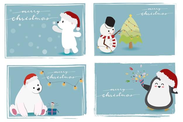 Animaux mignons et bonhomme de neige avec calligraphie joyeuse de noël Vecteur Premium
