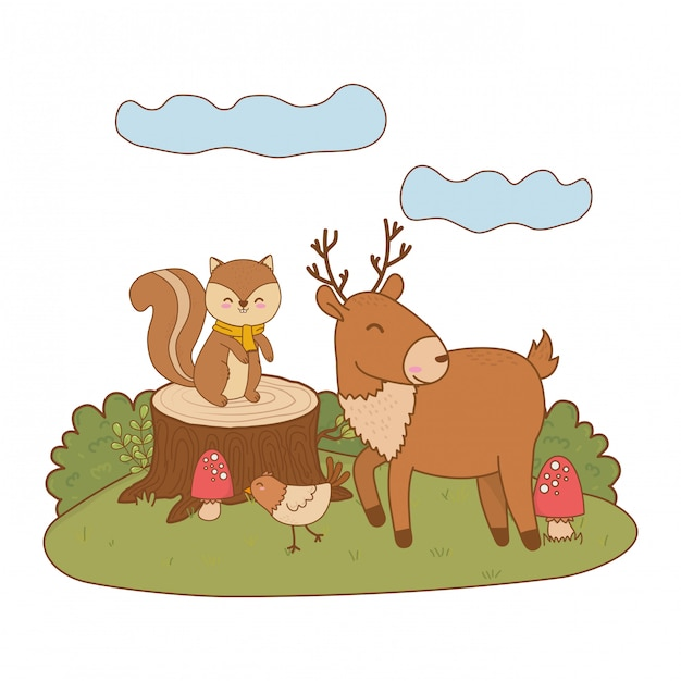 Animaux mignons dans le champ des personnages forestiers Vecteur Premium
