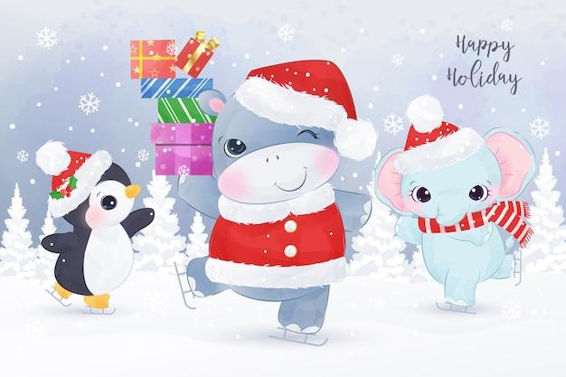 Animaux Mignons Dansant Dans La Neige. Illustration De Carte De Voeux De Noël. Vecteur Premium