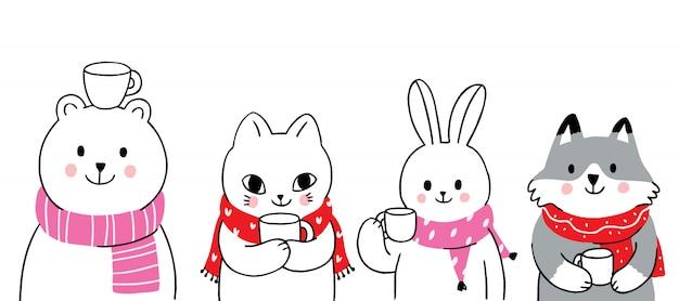 Animaux mignons de dessin animé hiver boivent du café Vecteur Premium