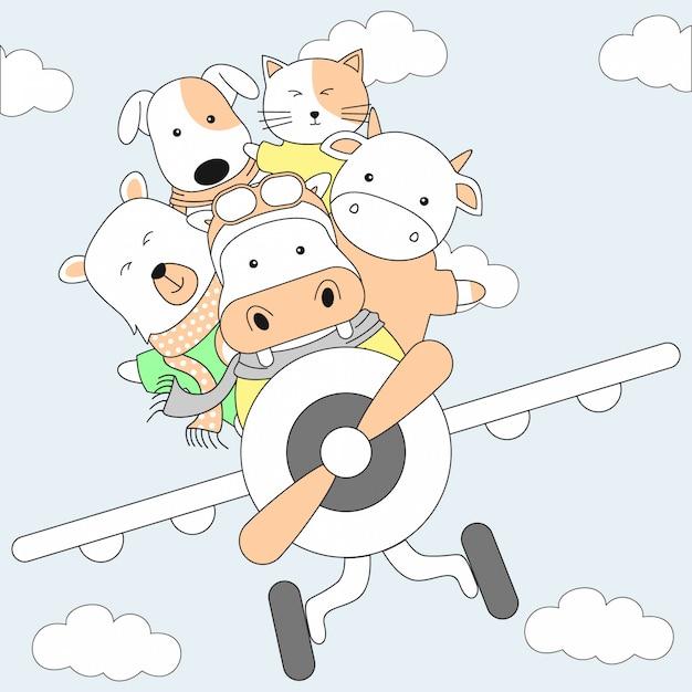 Animaux mignons dessinés à la main et dessin animé d'avion Vecteur Premium