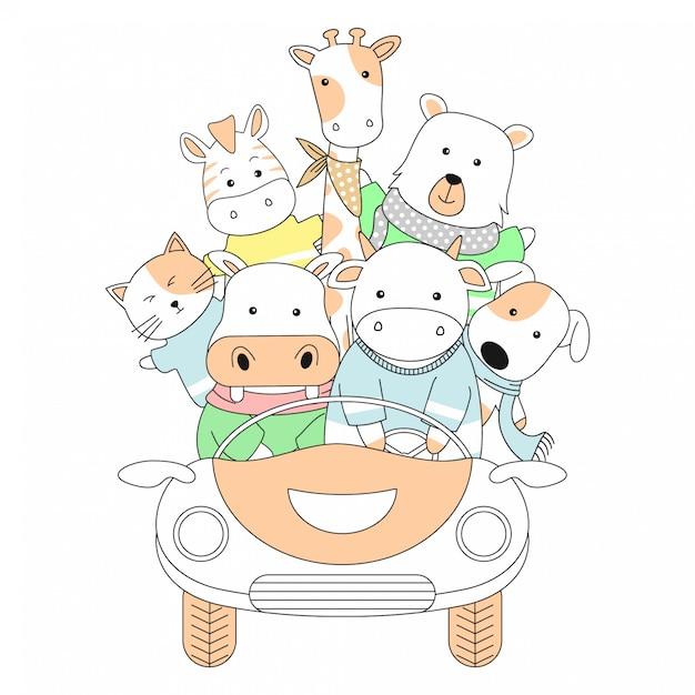 Animaux mignons dessinés à la main et dessin animé de voiture Vecteur Premium