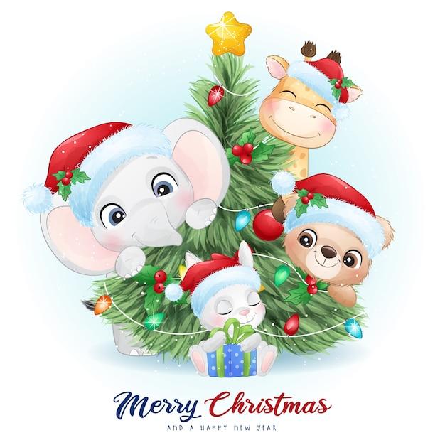 Animaux Mignons De Griffonnage Pour Le Jour De Noël Avec Illustration Aquarelle Vecteur Premium