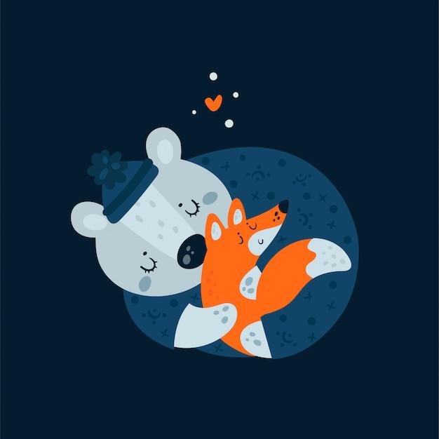 Animaux mignons ours et renard dorment. faites de beaux rêves petit Vecteur Premium
