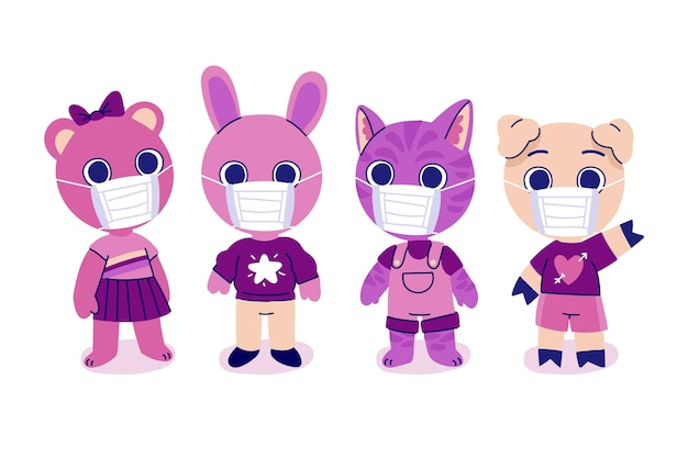 Animaux Mignons Portant Des Masques Faciaux Vecteur gratuit