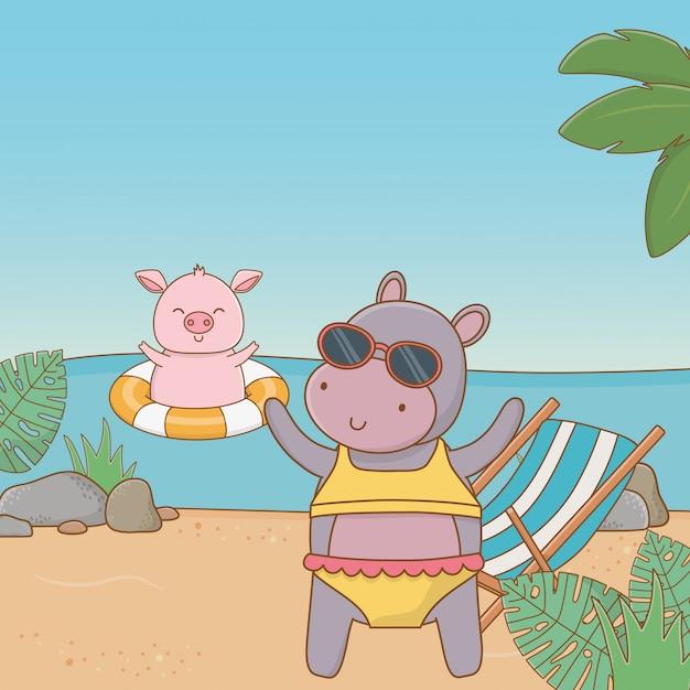 Animaux mignons, profitant des vacances d'été Vecteur gratuit