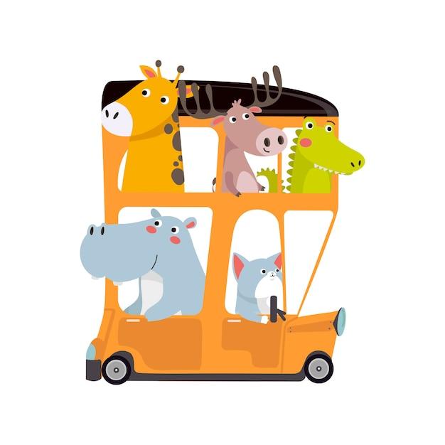 Animaux mignons voyageant en bus Vecteur Premium