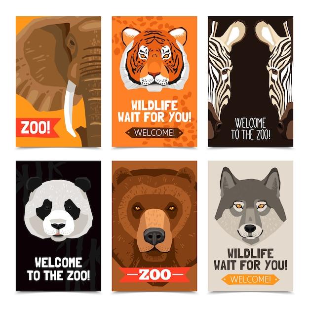 Animaux mini posters set Vecteur gratuit
