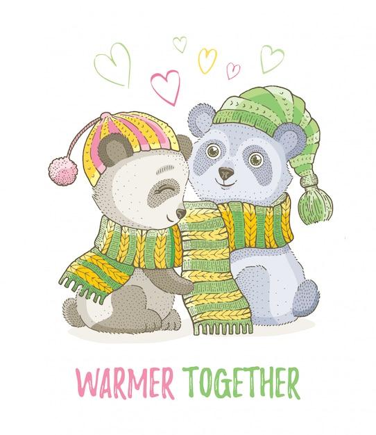 Animaux de noël mignons, croquis couple d'ours panda en écharpes tricotées. joyeux noël et nouvel an bande dessinée illustration vectorielle aquarelle. Vecteur Premium