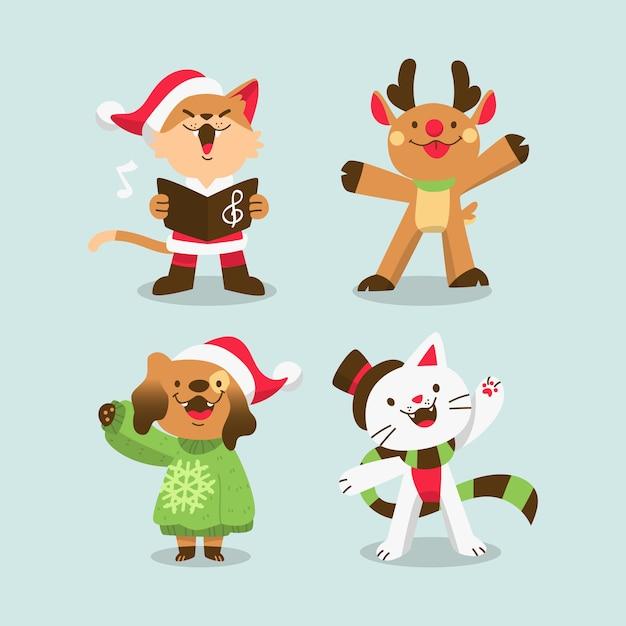 Animaux De Noël Mignons Dessinés à La Main Vecteur gratuit