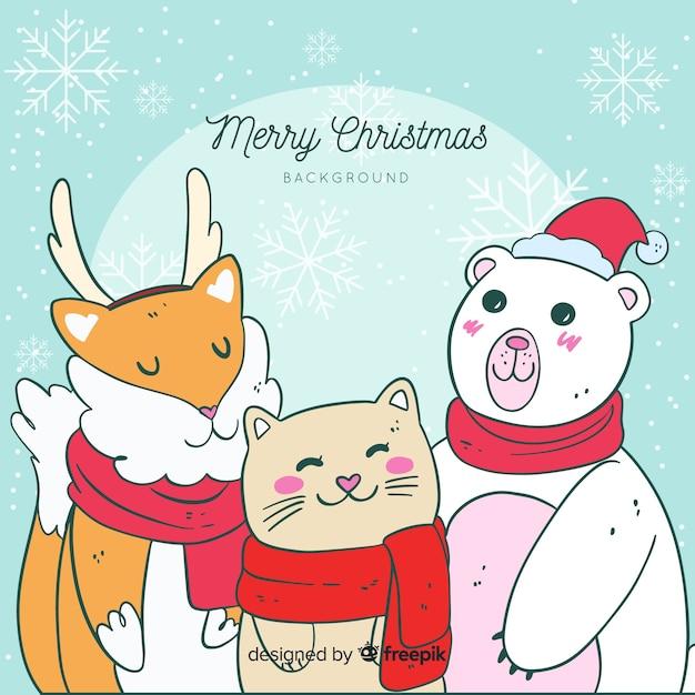 Animaux De Noel Vecteur gratuit