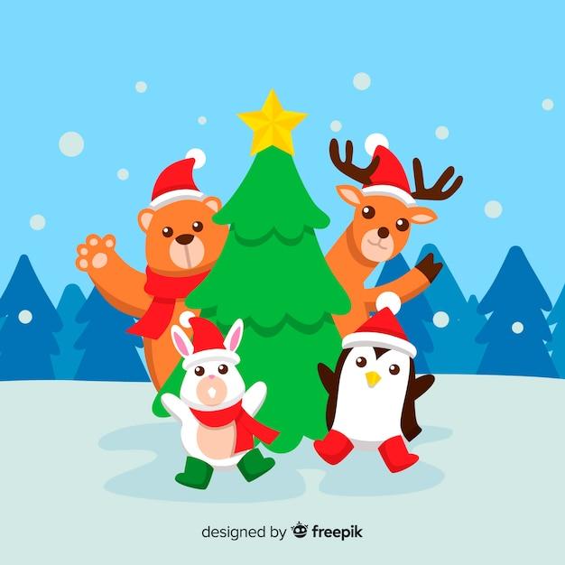 Animaux à Noël Vecteur gratuit