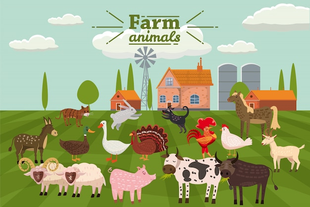 Animaux et oiseaux de la ferme dans un style branché et mignon Vecteur Premium
