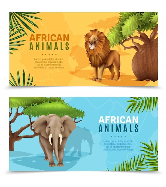 Animaux safari bannières horizontales Vecteur gratuit
