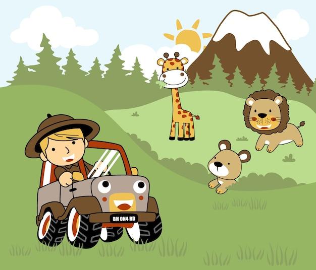 Animaux de safari dessin animé avec un garçon sur une voiture. Vecteur Premium
